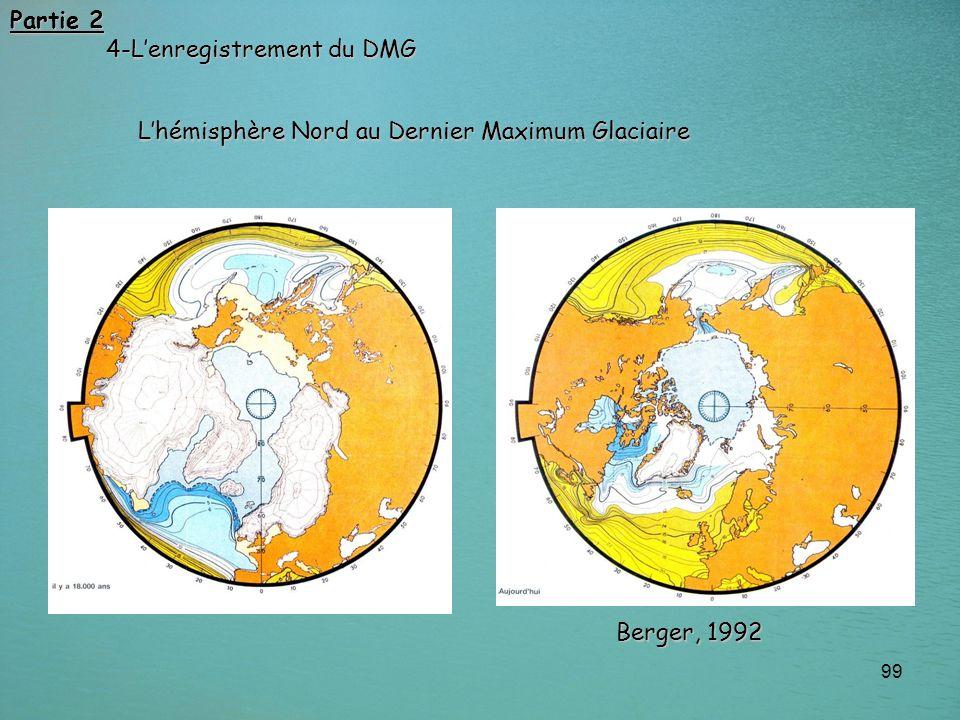 Partie 2 4-L'enregistrement du DMG L'hémisphère Nord au Dernier Maximum Glaciaire Berger, 1992
