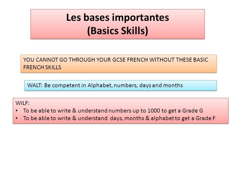 Les bases importantes (Basics Skills)