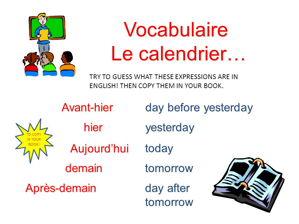Vocabulaire Le calendrier… Avant-hier day before yesterday hier