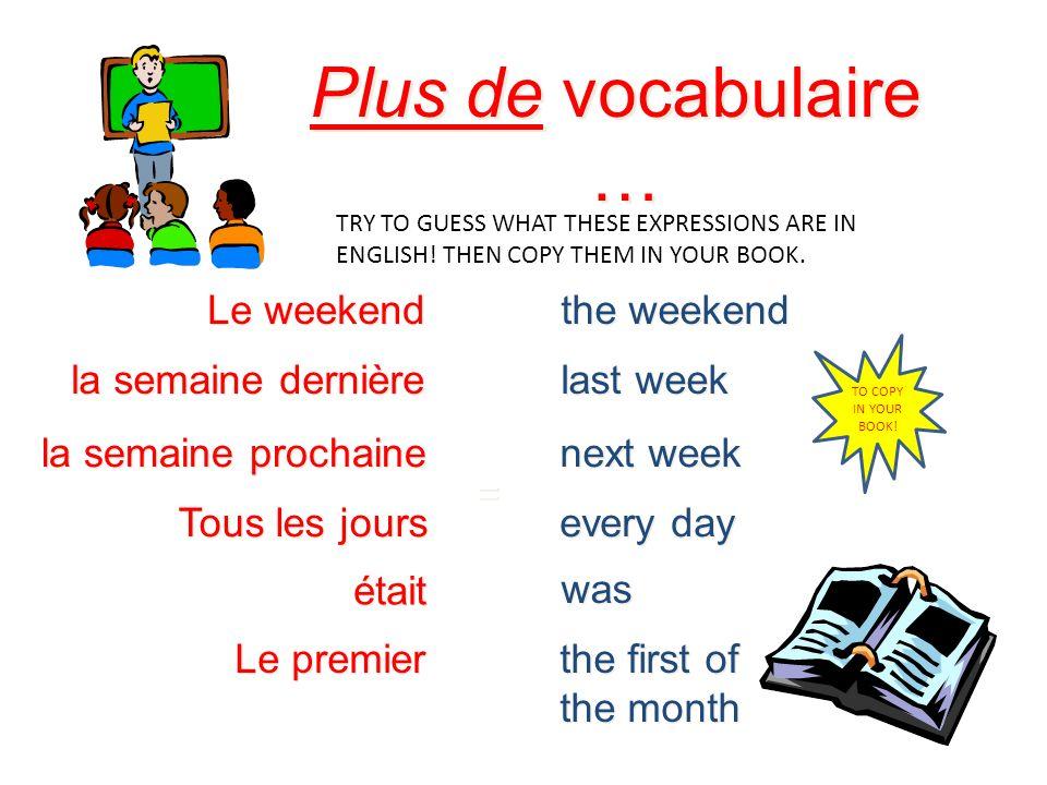 Plus de vocabulaire … Le weekend the weekend la semaine dernière