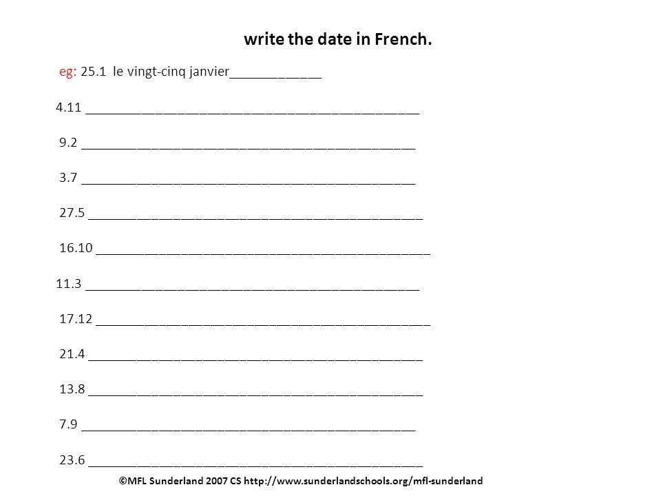 write the date in French.