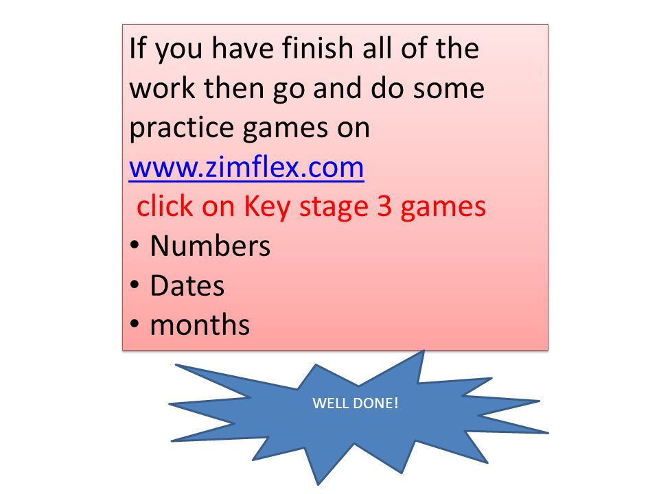 click on Key stage 3 games Numbers Dates months
