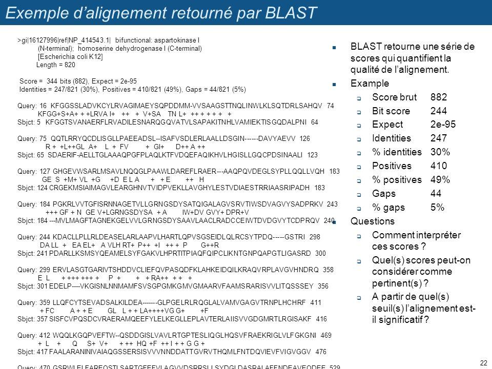 Exemple d'alignement retourné par BLAST