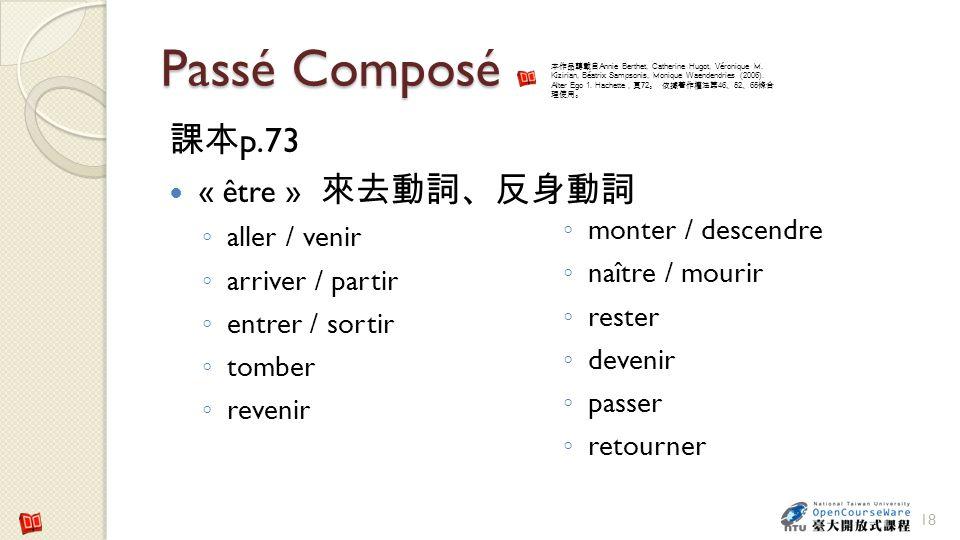 Passé Composé 課本p.73 « être » 來去動詞、反身動詞 aller / venir arriver / partir
