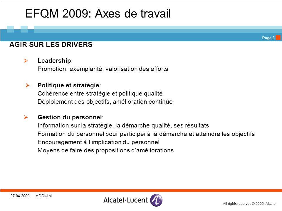 EFQM 2009: Axes de travail AGIR SUR LES DRIVERS