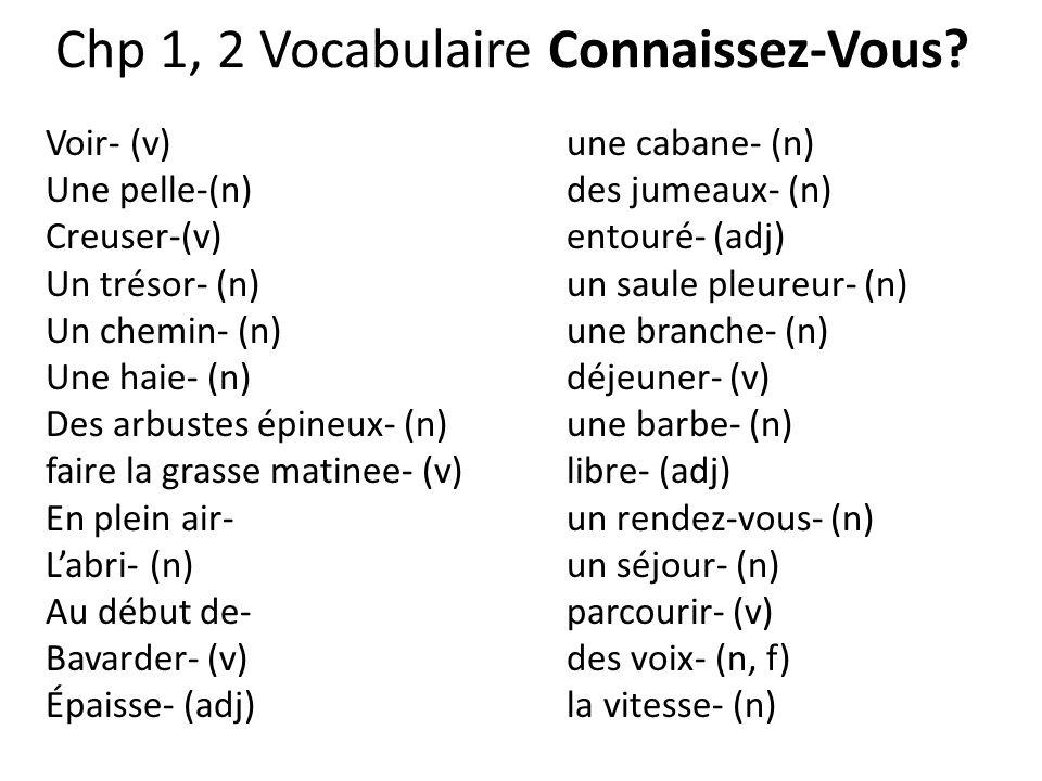 Chp 1, 2 Vocabulaire Connaissez-Vous