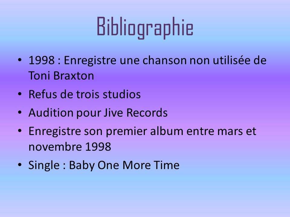 Bibliographie 1998 : Enregistre une chanson non utilisée de Toni Braxton. Refus de trois studios. Audition pour Jive Records.