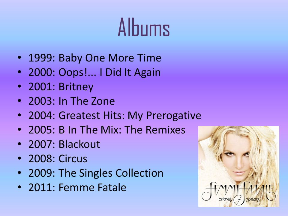 Albums 1999: Baby One More Time 2000: Oops!... I Did It Again