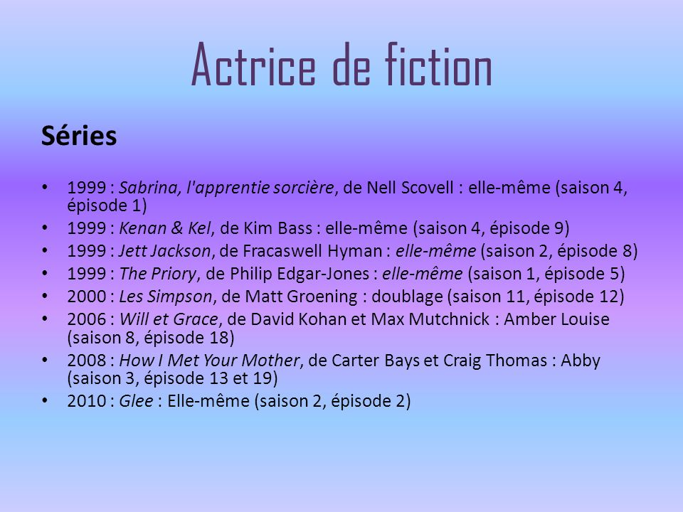 Actrice de fiction Séries