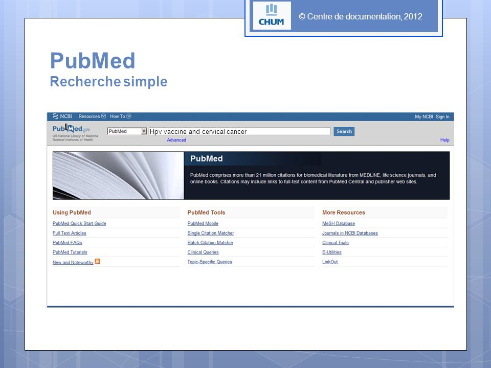 PubMed Recherche simple