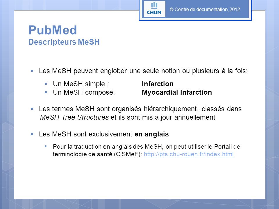 PubMed Descripteurs MeSH
