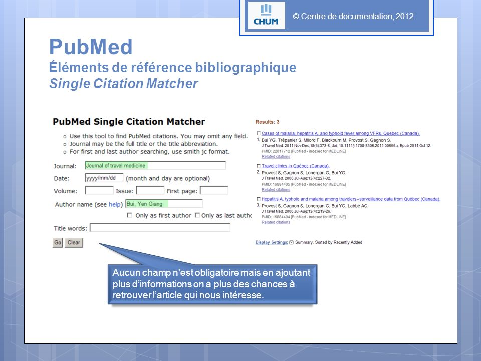 PubMed Éléments de référence bibliographique Single Citation Matcher