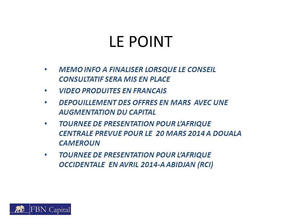 LE POINT MEMO INFO A FINALISER LORSQUE LE CONSEIL CONSULTATIF SERA MIS EN PLACE. VIDEO PRODUITES EN FRANCAIS.