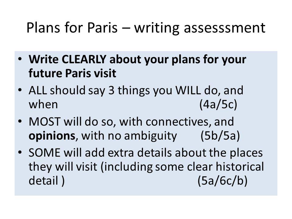 Plans for Paris – writing assesssment