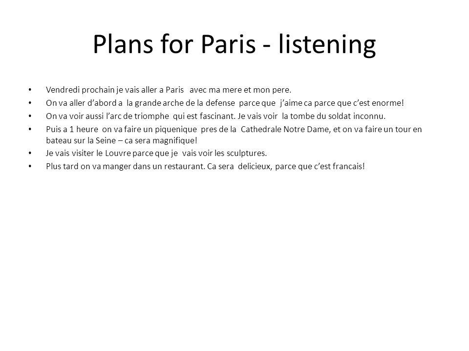 Plans for Paris - listening