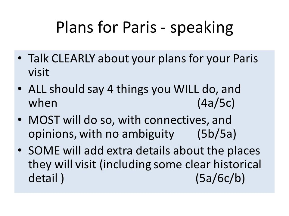 Plans for Paris - speaking
