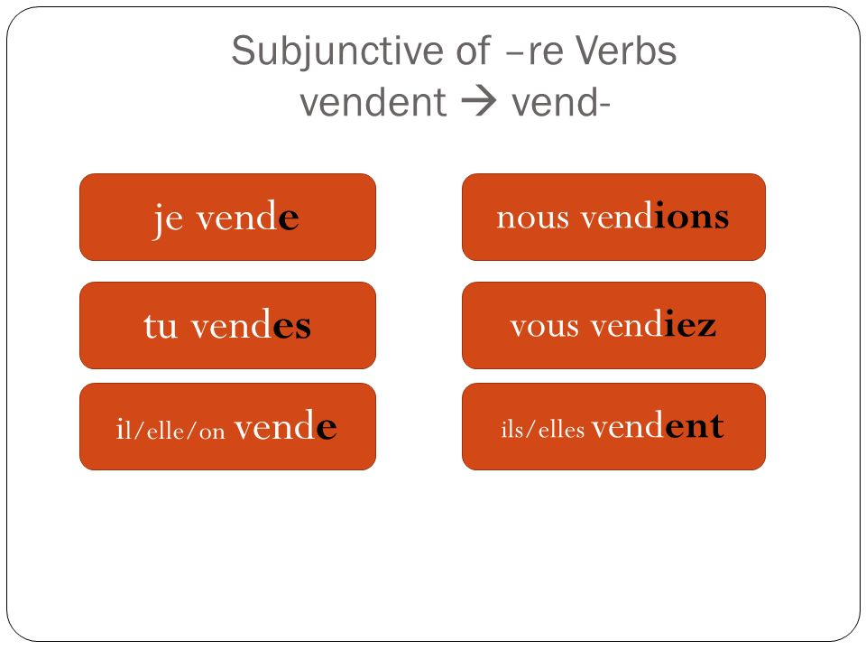 Subjunctive of –re Verbs vendent  vend-
