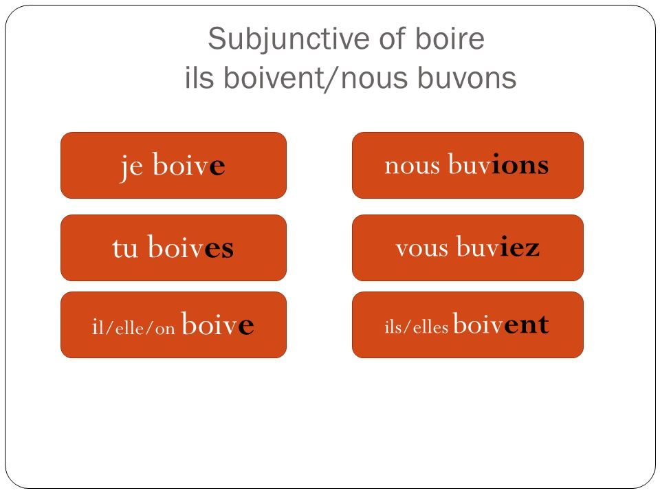 Subjunctive of boire ils boivent/nous buvons
