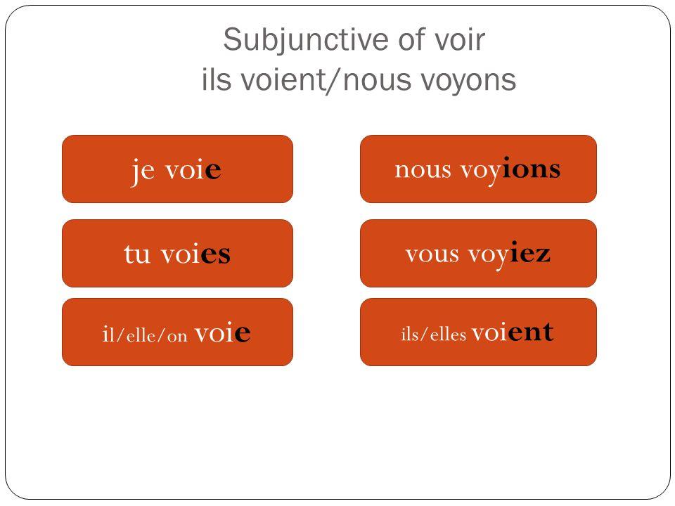 Subjunctive of voir ils voient/nous voyons