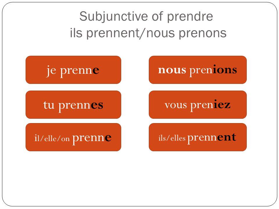 Subjunctive of prendre ils prennent/nous prenons