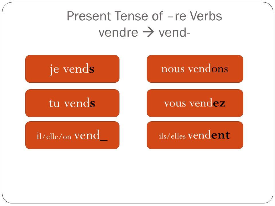 Present Tense of –re Verbs vendre  vend-