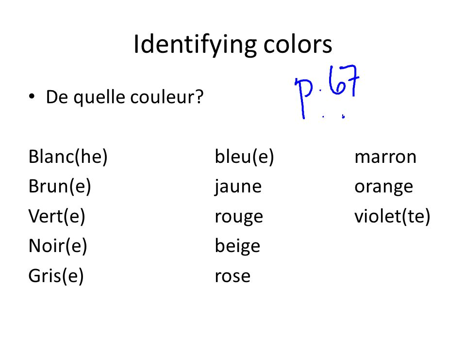 Identifying colors De quelle couleur Blanc(he) bleu(e) marron