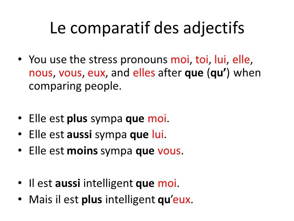 Le comparatif des adjectifs