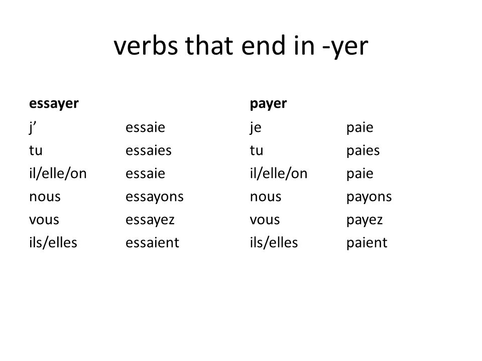 verbs that end in -yer essayer payer