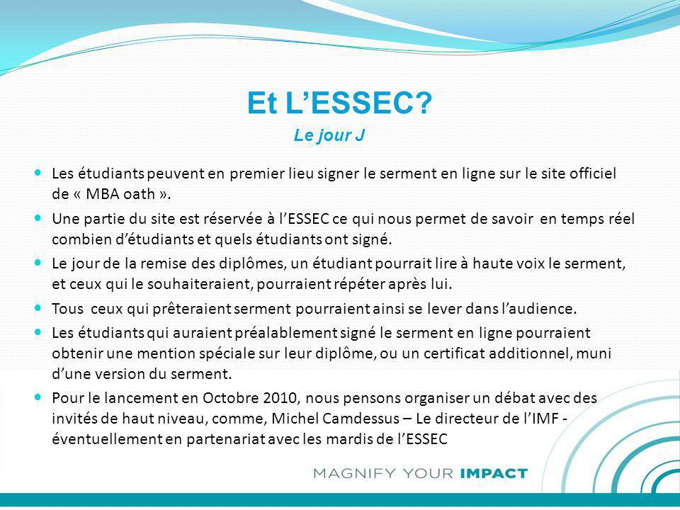 Et L'ESSEC Le jour J. Les étudiants peuvent en premier lieu signer le serment en ligne sur le site officiel de « MBA oath ».