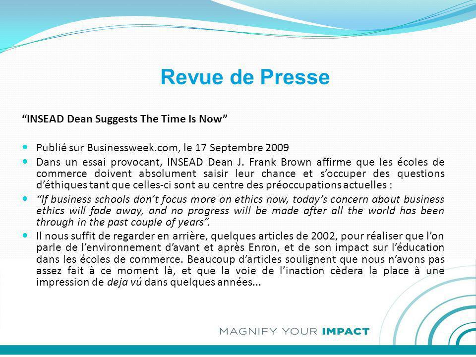 Revue de Presse INSEAD Dean Suggests The Time Is Now