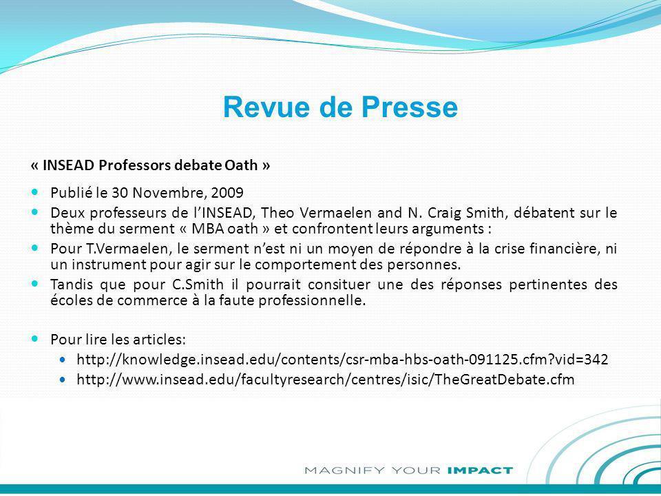 Revue de Presse « INSEAD Professors debate Oath »