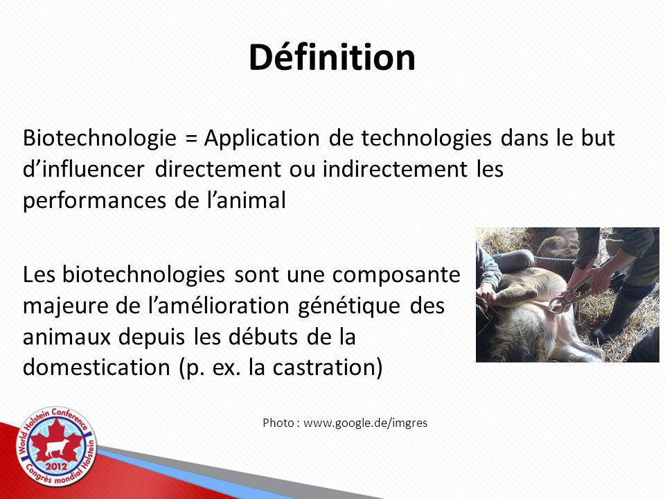 Définition Biotechnologie = Application de technologies dans le but d'influencer directement ou indirectement les performances de l'animal.