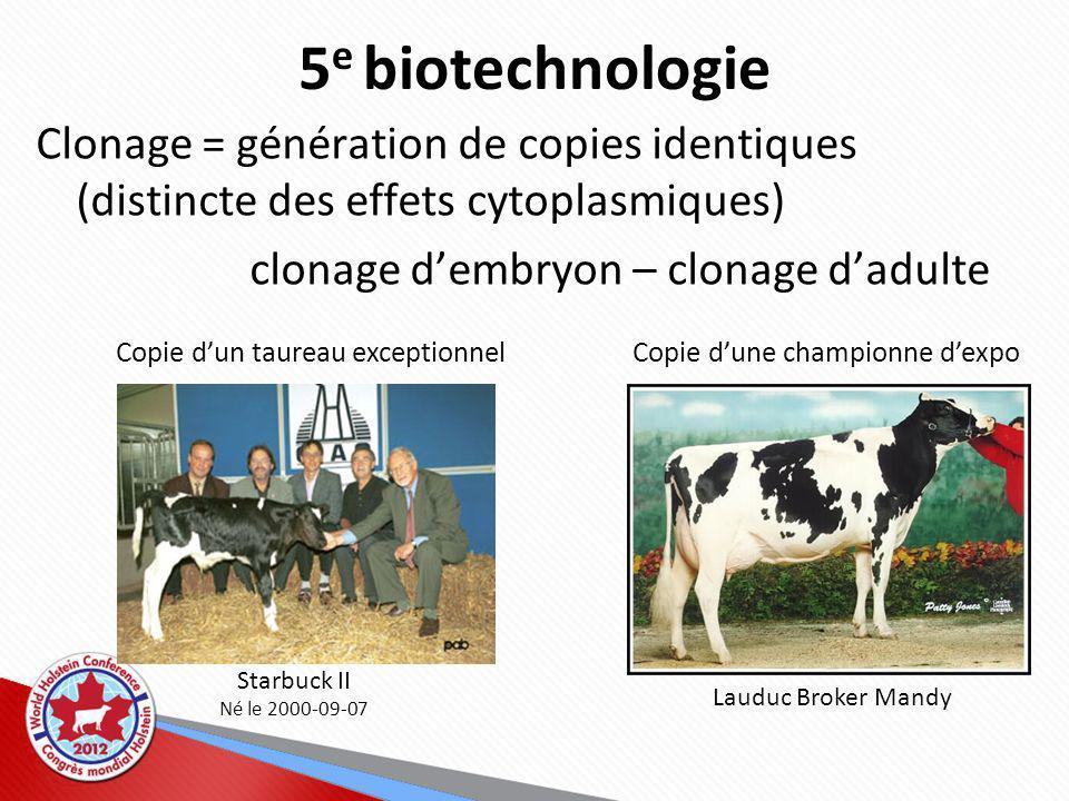 5e biotechnologie Clonage = génération de copies identiques (distincte des effets cytoplasmiques) clonage d'embryon – clonage d'adulte.
