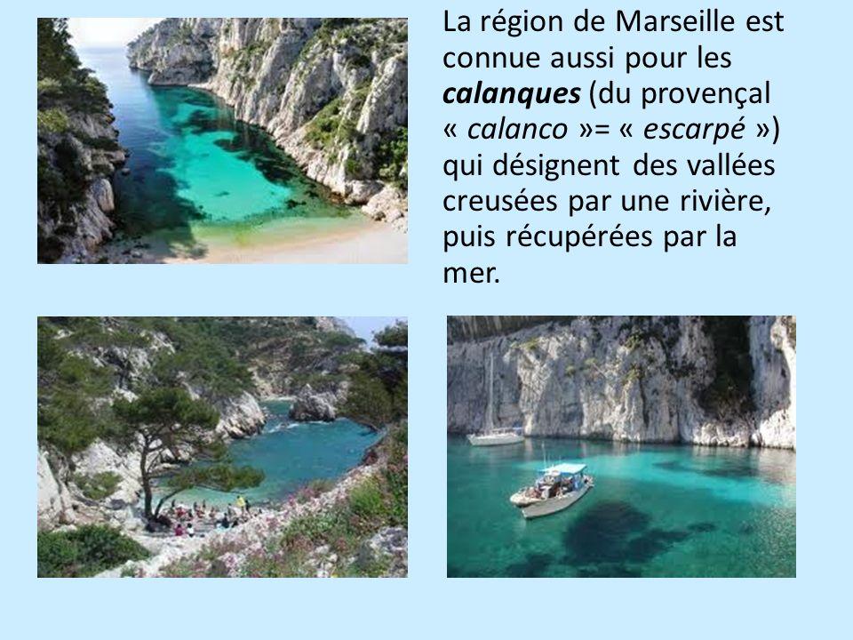 La région de Marseille est connue aussi pour les calanques (du provençal « calanco »= « escarpé ») qui désignent des vallées creusées par une rivière, puis récupérées par la mer.