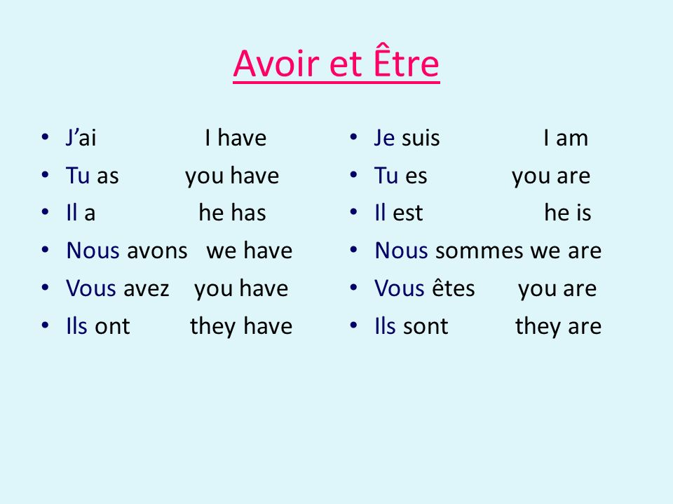 Avoir et Être J'ai I have Tu as you have Il a he has