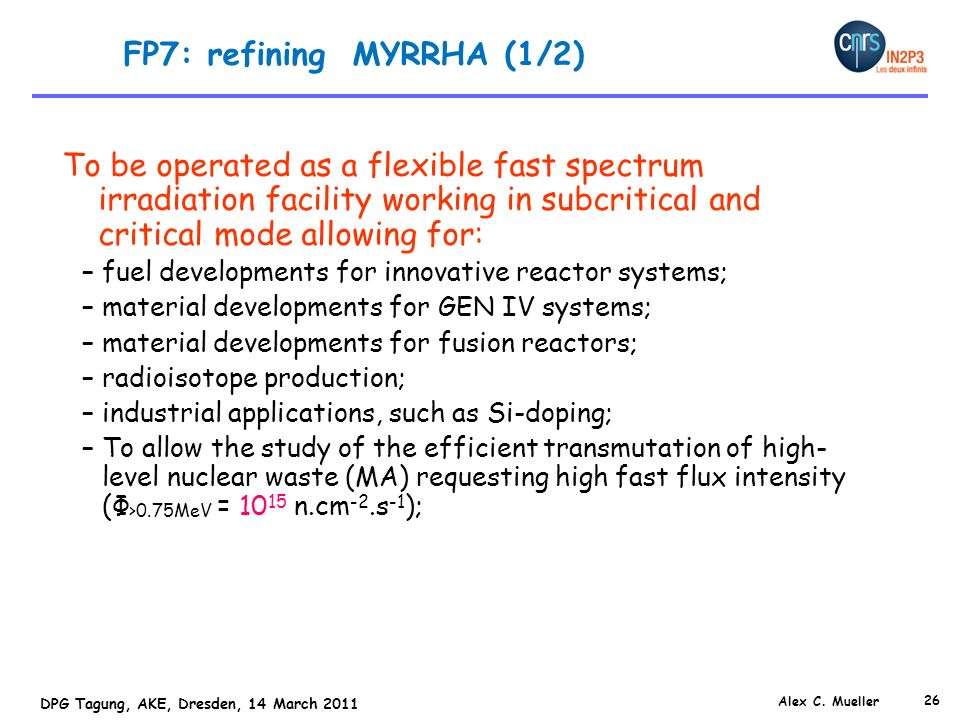 FP7: refining MYRRHA (1/2)