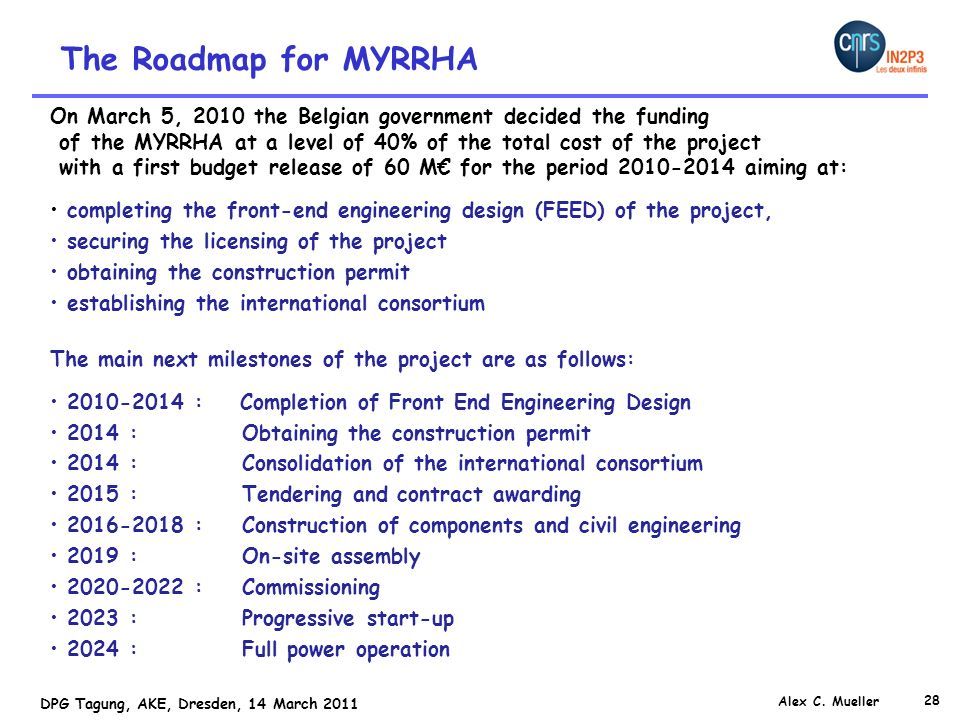 The Roadmap for MYRRHA On March 5, 2010 the Belgian government decided the funding. of the MYRRHA at a level of 40% of the total cost of the project.