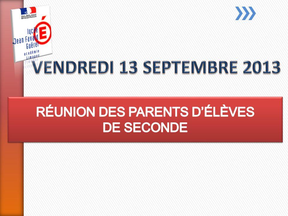 RÉUNION DES PARENTS D'ÉLÈVES DE SECONDE