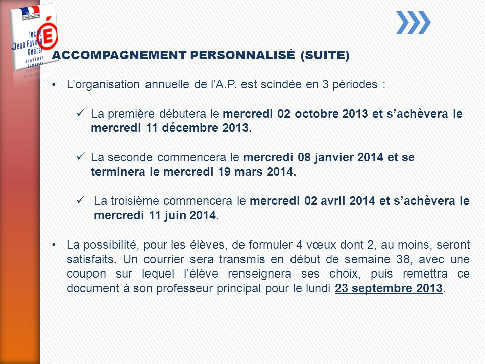 ACCOMPAGNEMENT PERSONNALISÉ (SUITE)