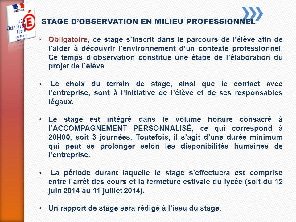 STAGE D'OBSERVATION EN MILIEU PROFESSIONNEL