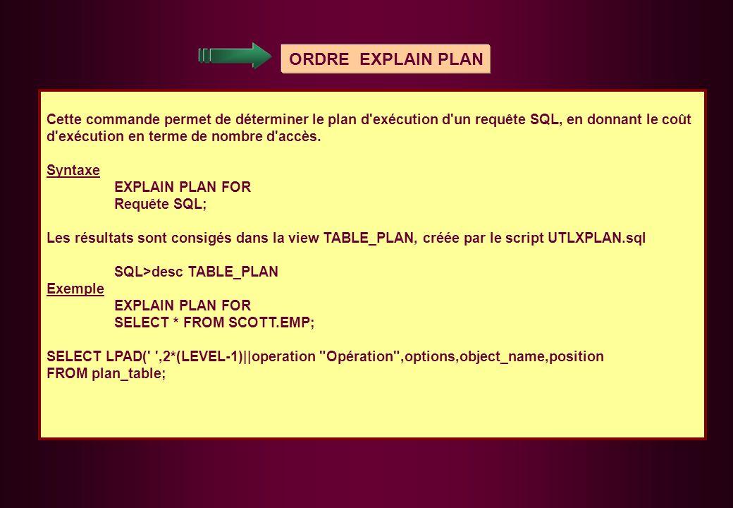 ORDRE EXPLAIN PLAN