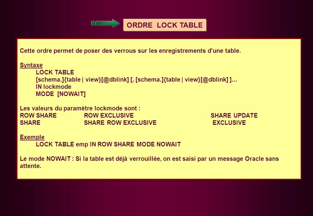 ORDRE LOCK TABLE Cette ordre permet de poser des verrous sur les enregistrements d une table. Syntaxe.