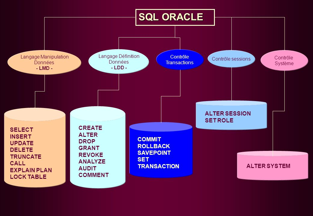 SQL ORACLE ALTER SESSION SET ROLE CREATE SELECT ALTER INSERT DROP