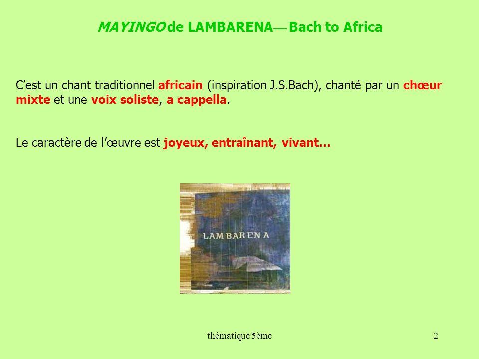 MAYINGO de LAMBARENA— Bach to Africa