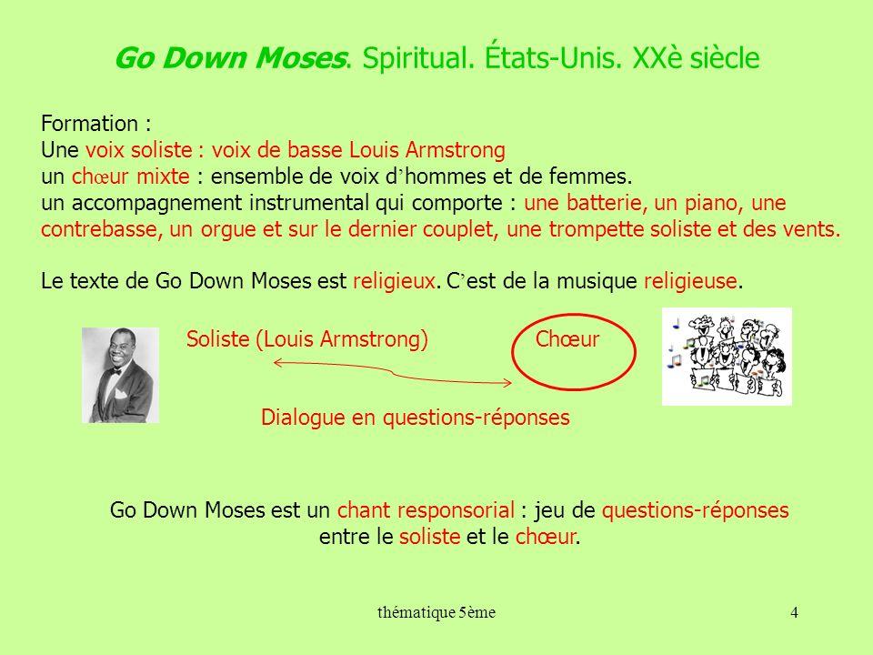 Go Down Moses. Spiritual. États-Unis. XXè siècle