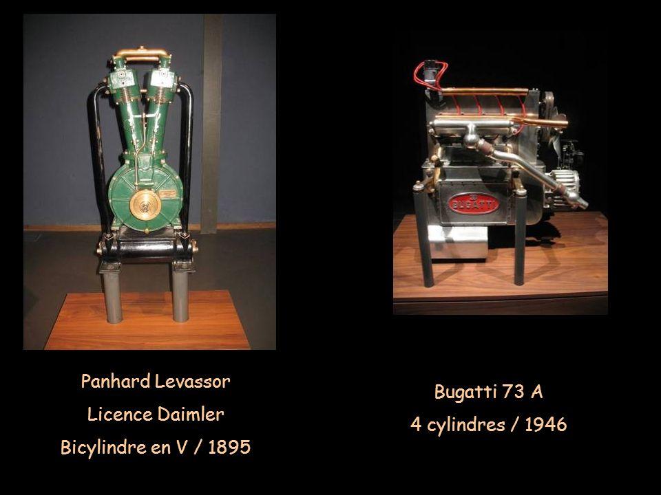 Panhard Levassor Licence Daimler Bicylindre en V / 1895 Bugatti 73 A 4 cylindres / 1946