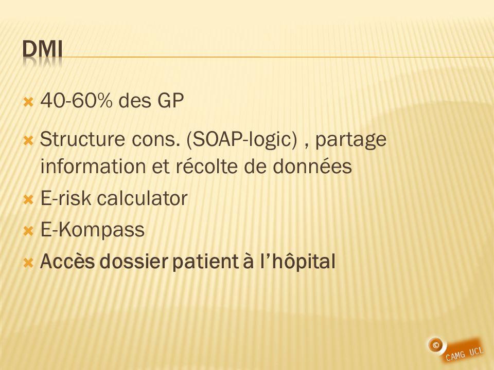 DMI 40-60% des GP. Structure cons. (SOAP-logic) , partage information et récolte de données. E-risk calculator.