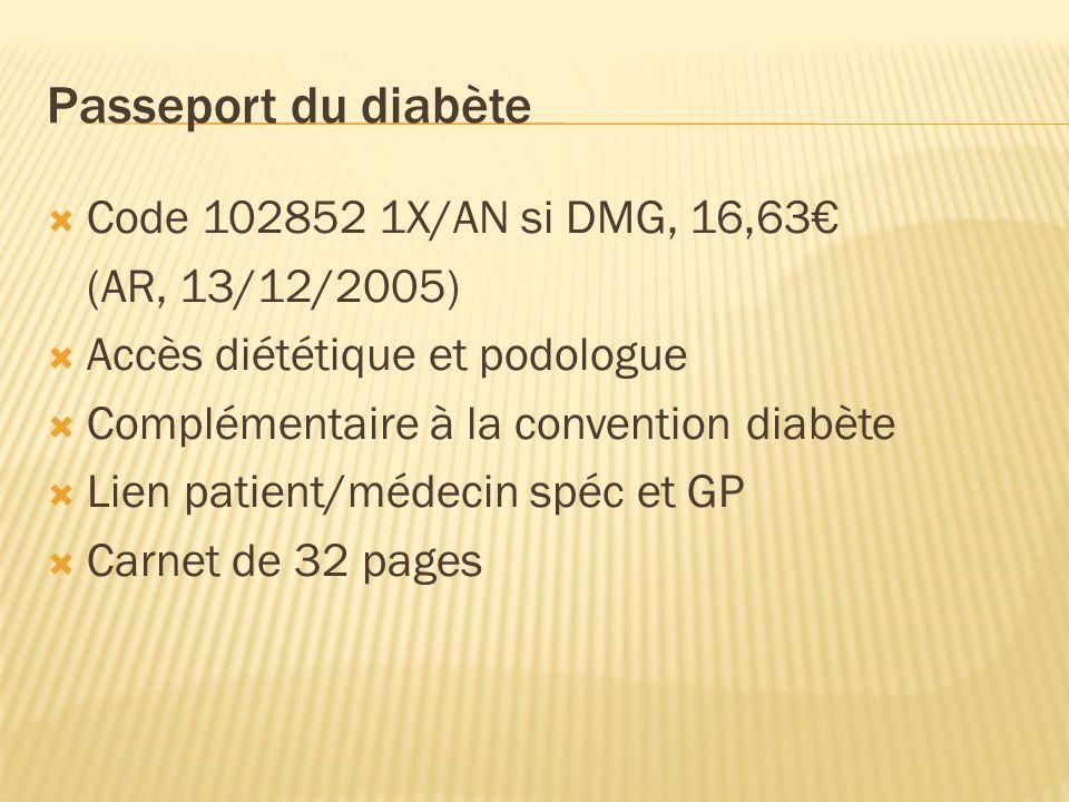 Passeport du diabète Code 102852 1X/AN si DMG, 16,63€ (AR, 13/12/2005)