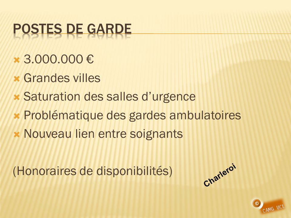 Postes de garde 3.000.000 € Grandes villes