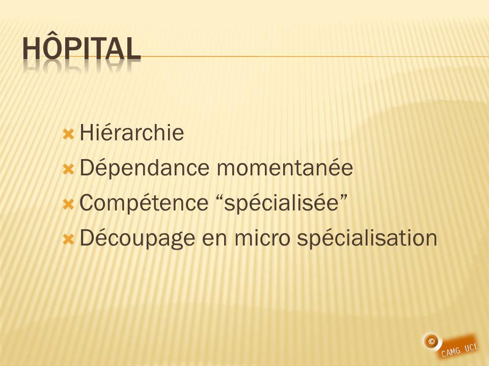 Hôpital Hiérarchie Dépendance momentanée Compétence spécialisée